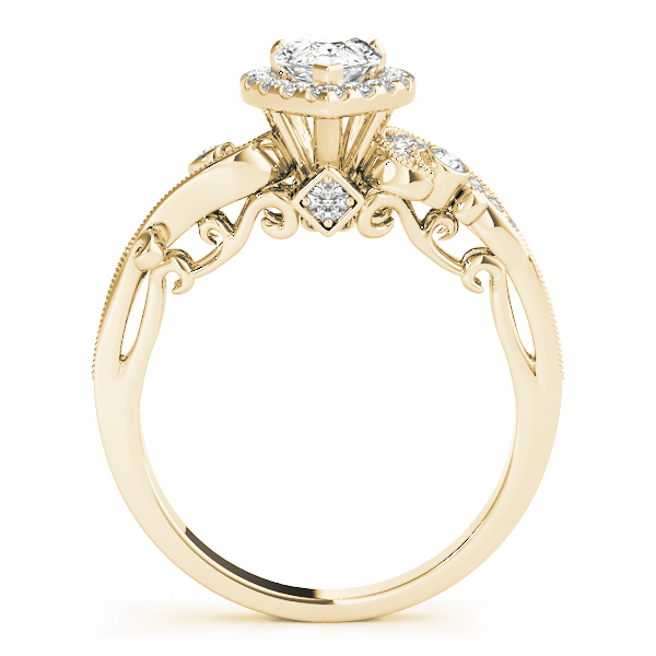 Pear Halo Diamond Filigree Swirl Engagement Ring Yellow Gold