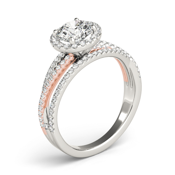 Multi-Row Diamond Halo Engagement Ring in Rose & White Gold