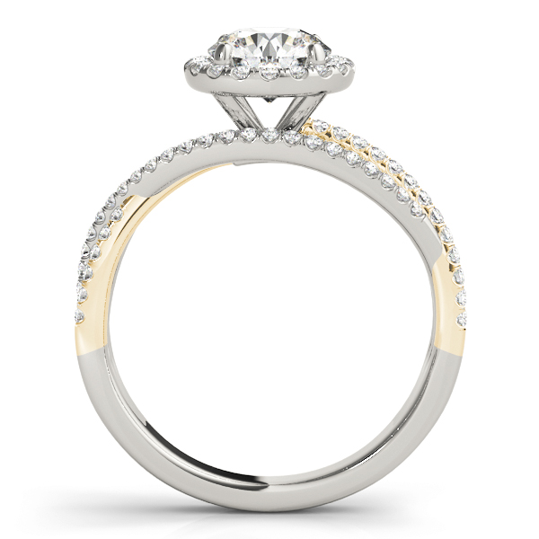 Multi-Row Diamond Halo Engagement Ring in Yellow & White Gold
