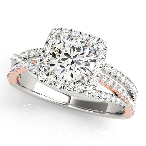 Multi-Row Diamond Square Halo Engagement Ring om Rose & White Gold