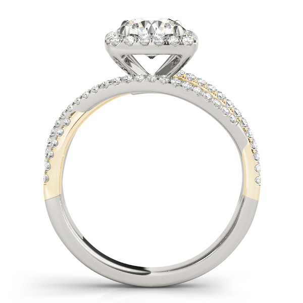 Multi-Row Diamond Square Halo Engagement Ring in Yellow & White Gold