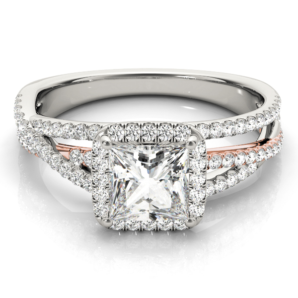 Multi-Row Diamond Square Halo Engagement Ring in Rose & White Gold