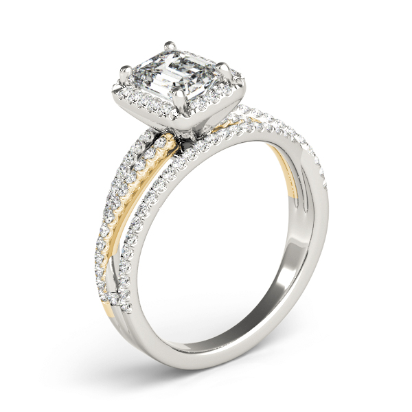 Multi-Row Diamond Emerald Cut Halo Engagement Ring in Yellow & White Gold