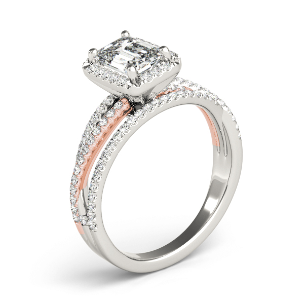 Multi-Row Diamond Emerald Cut Halo Engagement Ring in Rose & White Gold