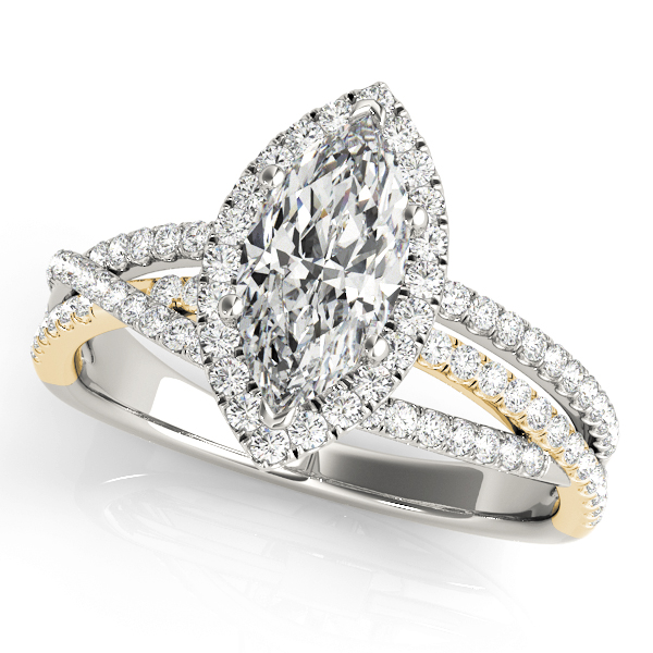 Multi-Row Diamond Marquise Shape Halo Engagement Ring in Yellow & White Gold