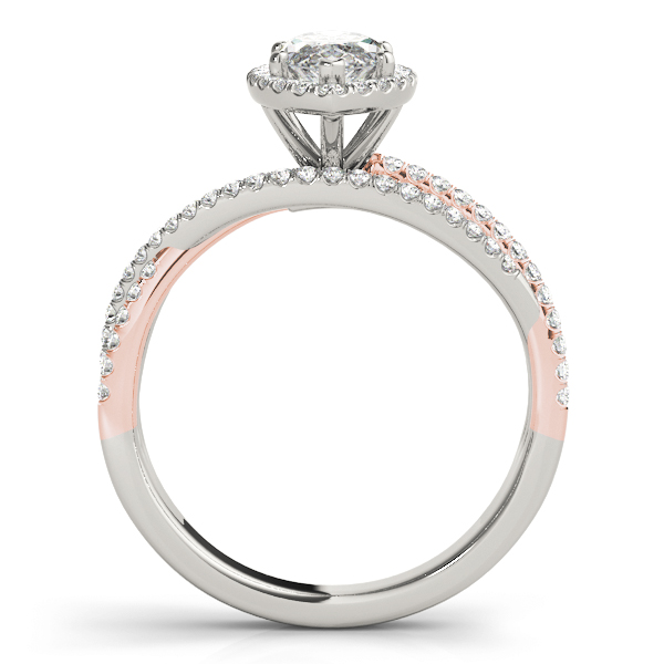 Multi-Row Diamond Marquise Shape Halo Engagement Ring in Rose & White Gold