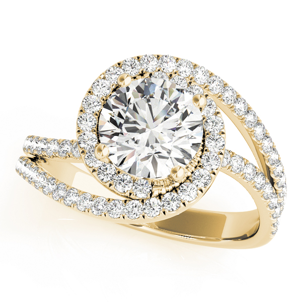 Swirl Diamond Halo Engagement Ring Yellow Gold