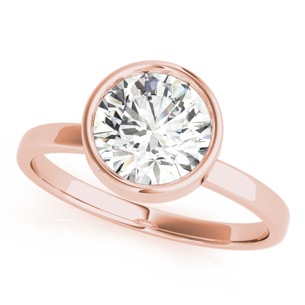 High Set Bezel Engagement Ring in Rose Gold