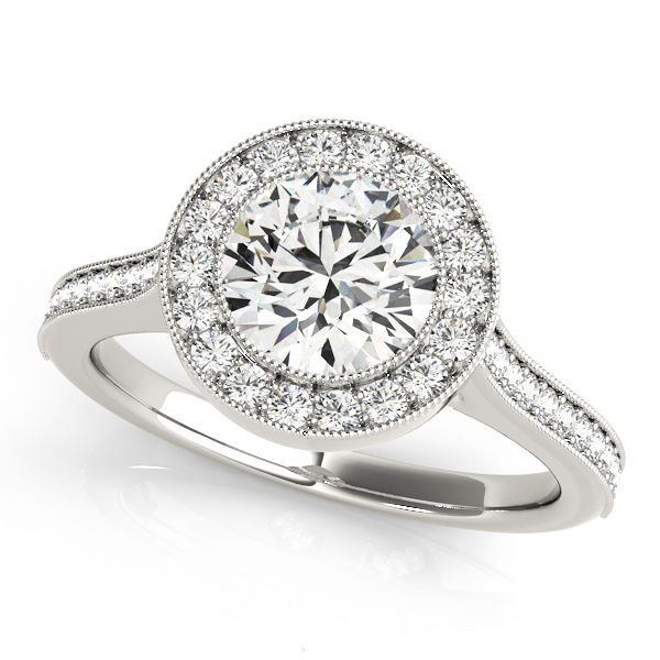 Cathedral Diamond Halo Bezel Engagement Ring 0.35 tcw.