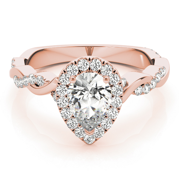 Pear Diamond Halo Engagement Ring, Twisted Band Rose Gold