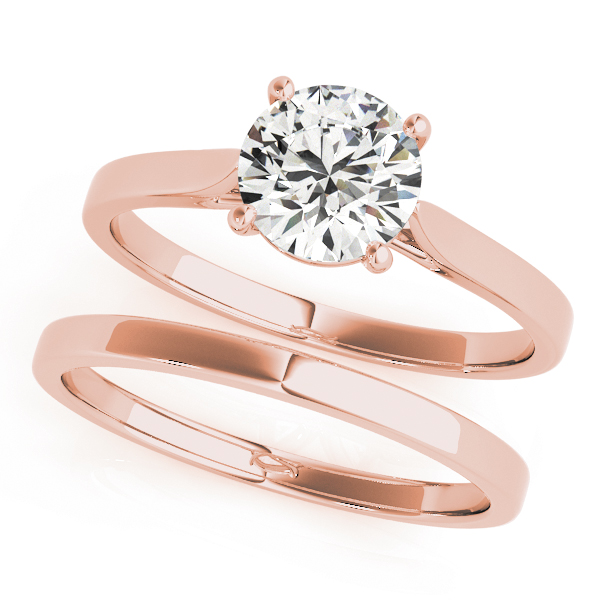 Cathedral Solitaire Rose Gold Bridal Set