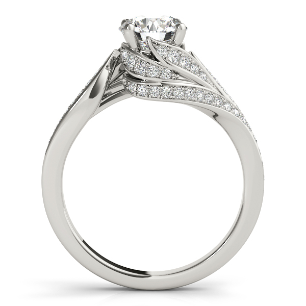 Swirled Leaf Diamond Engagement Ring