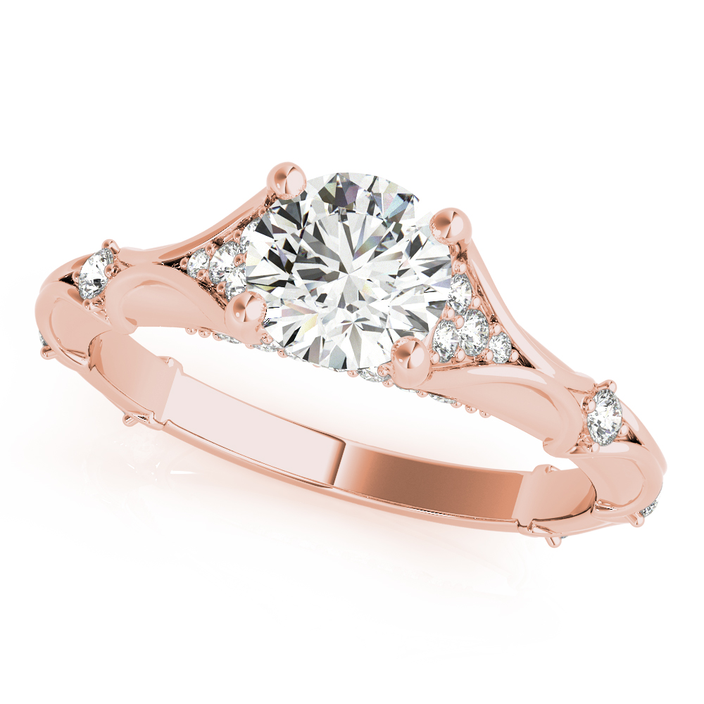 Bamboo Embossed Diamond Bridal Set Rose Gold