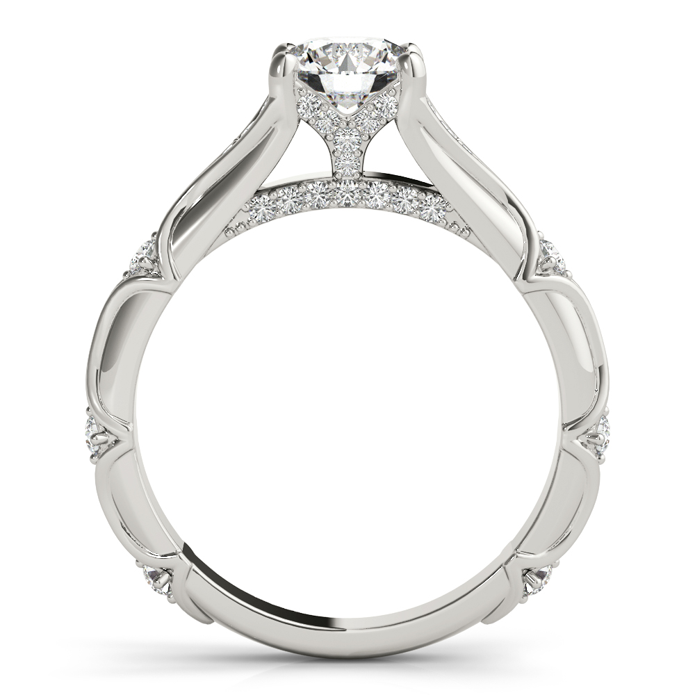 Bamboo Embossed Diamond Engagement Ring