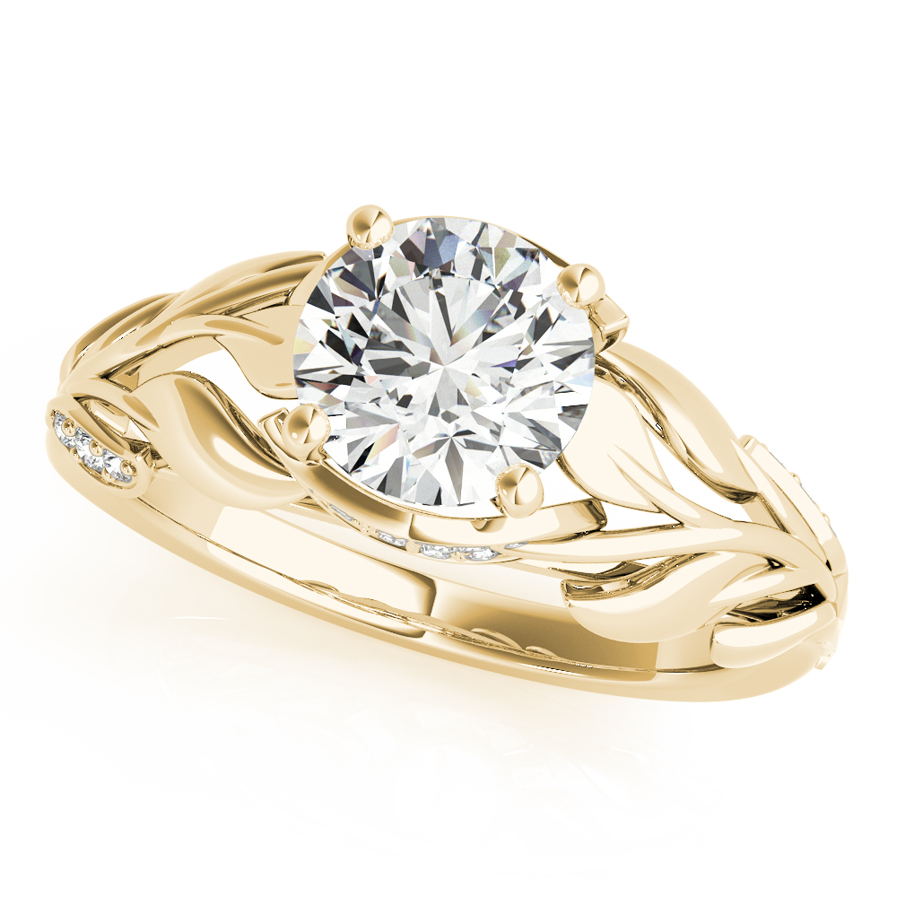 Floral Leaf Diamond Engagement Ring Yellow Gold