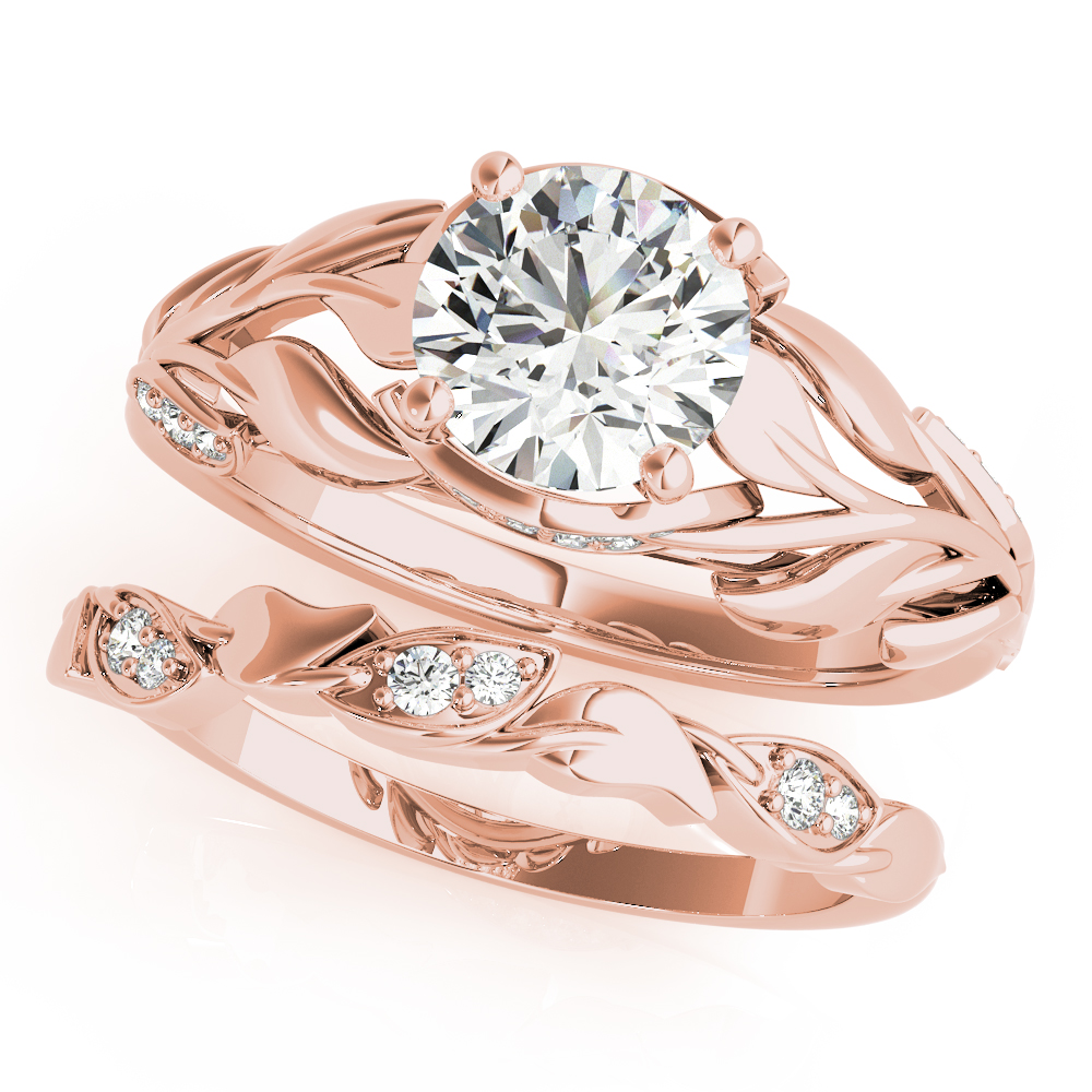 Floral Leaf Diamond Bridal Set Rose Gold