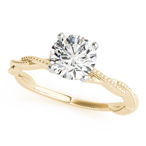 Petite Twisted Milligrain Ring Yellow Gold