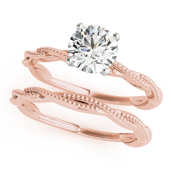 Petite Twisted Milligrain Bridal Set Rose Gold