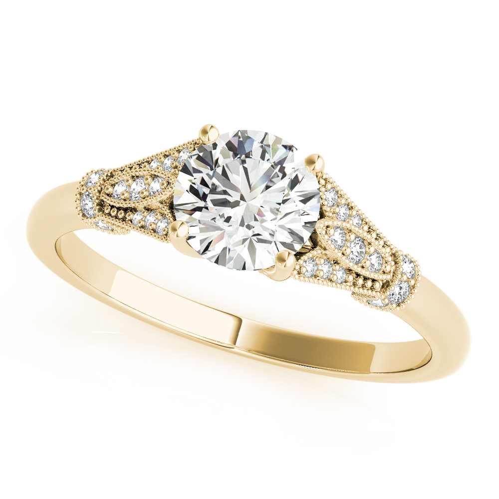 Cathedral Floral Engagement Ring Yellow Gold