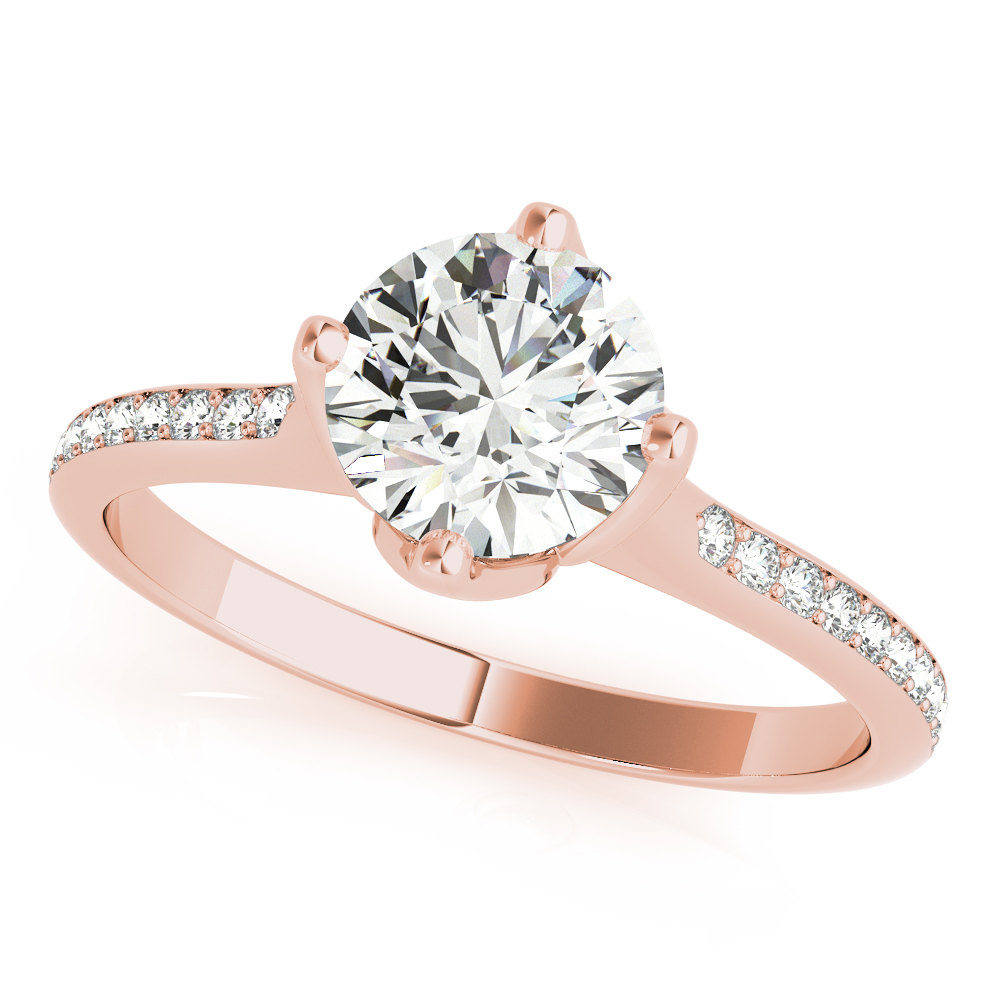 Tulip Flower Diamond Bridal Set Rose Gold
