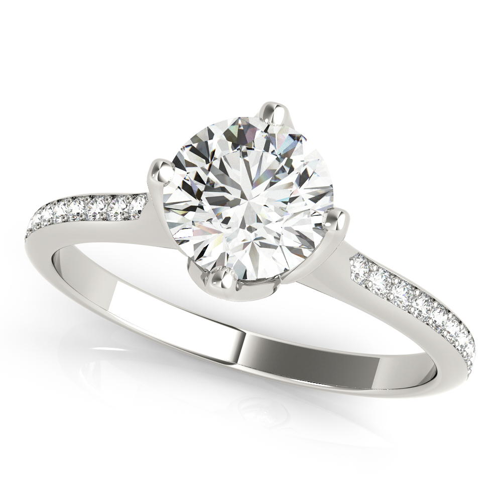 Tulip Flower Diamond Engagement Ring