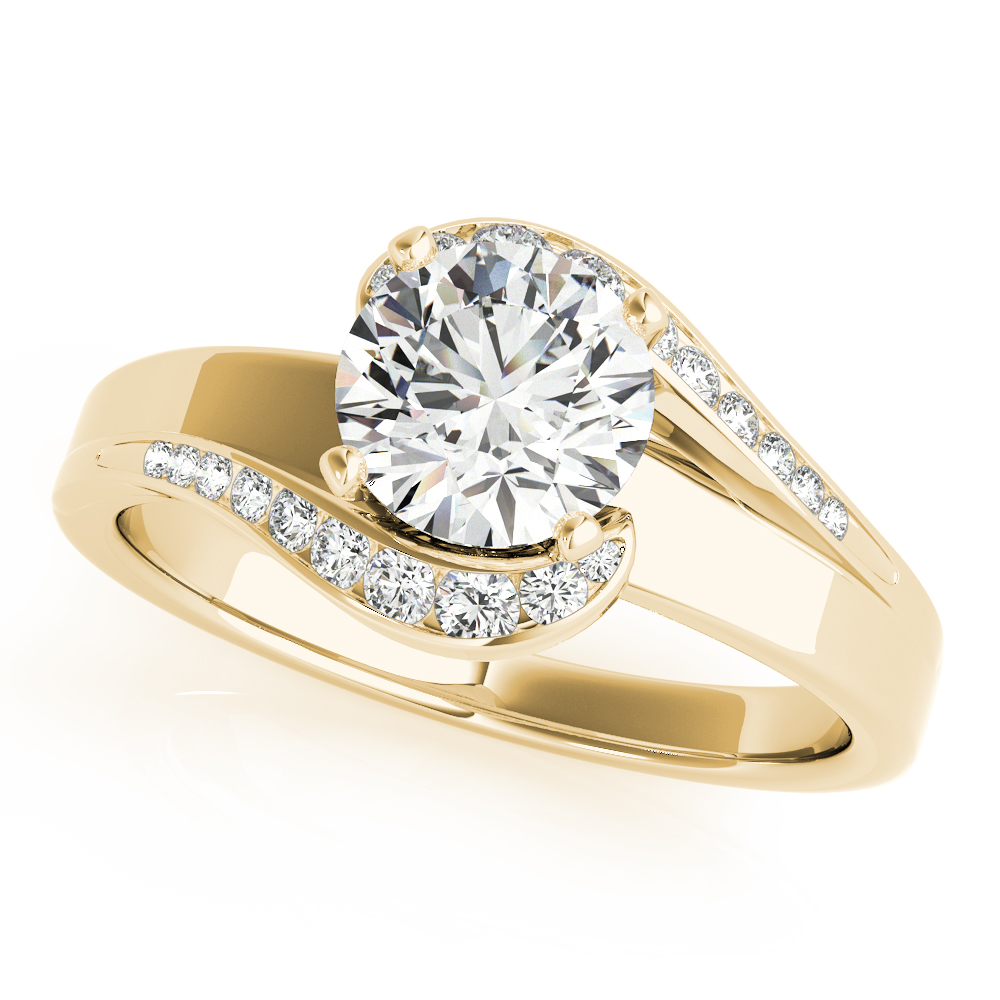 Swirl Graduated Halo Engagement Ring Yellow Gold