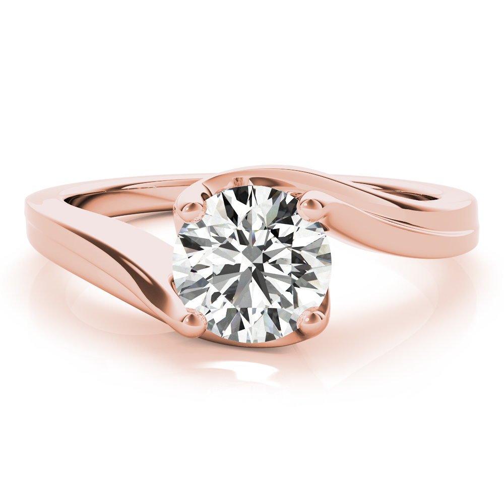Swirl Solitaire Indented Rose Gold Bridal Set