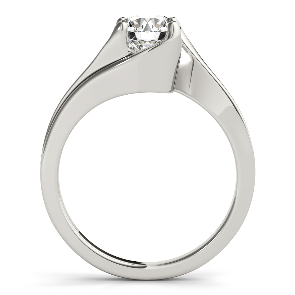 Swirl Solitaire Indented Engagement Ring
