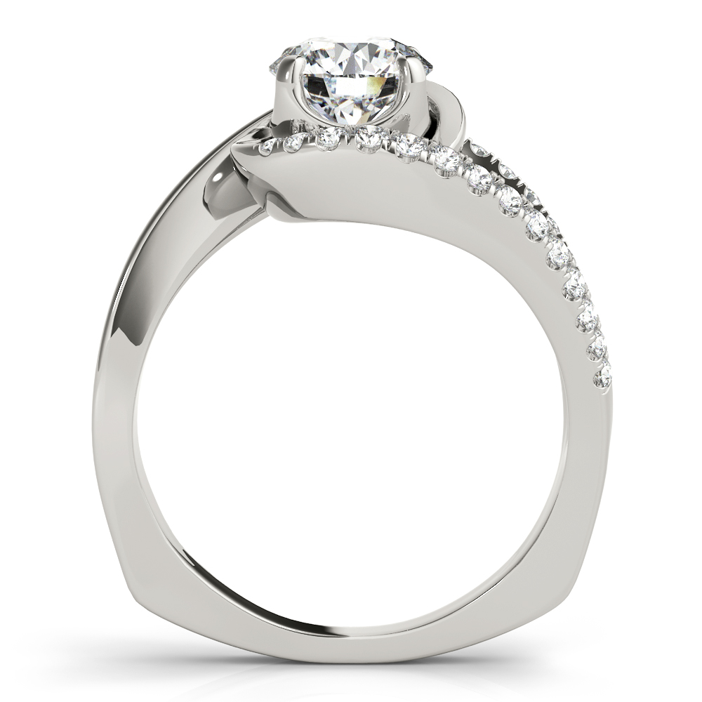 Swirl Split Band Diamond Engagement Ring