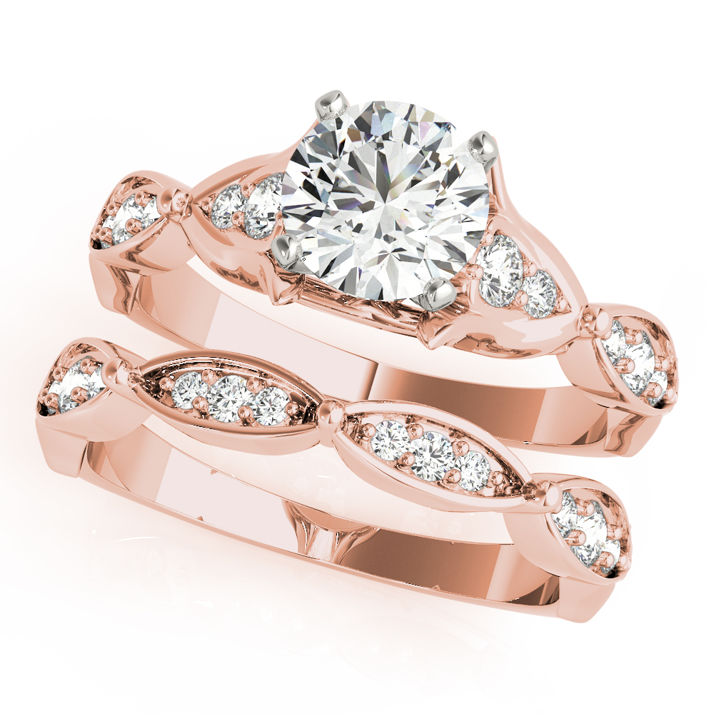 Floral Swing Diamond Bridal Set Rose Gold