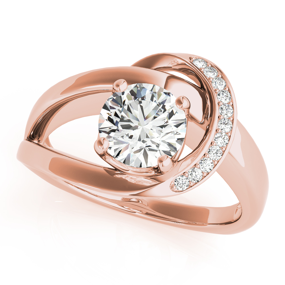 Swirl Crescent Halo Bridal Set Rose Gold