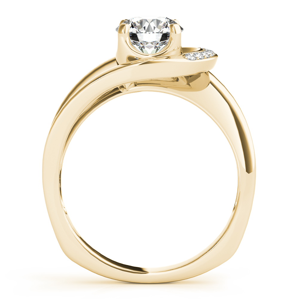 Crescent Halo Engagement Ring Yellow Gold
