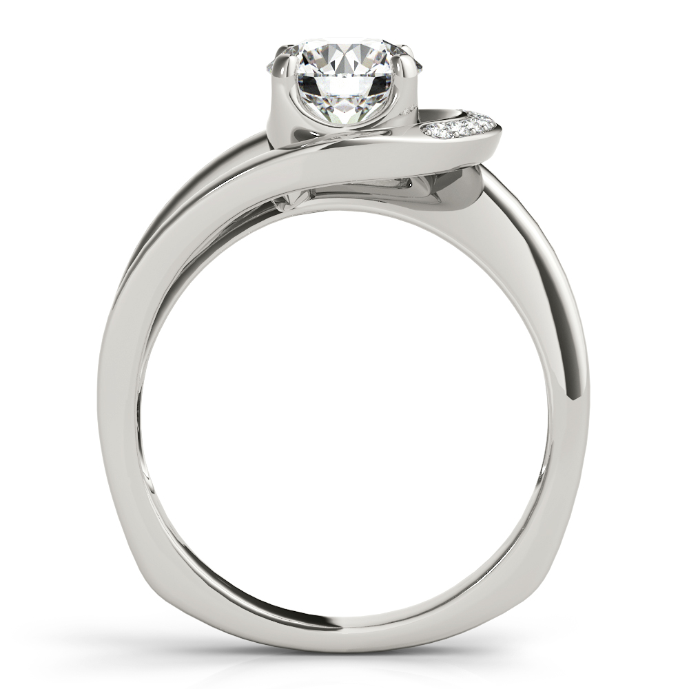 Half Crescent Halo Engagement Ring