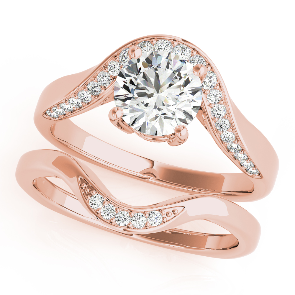 Art Nouveau Diamond Bridal Set Rose Gold
