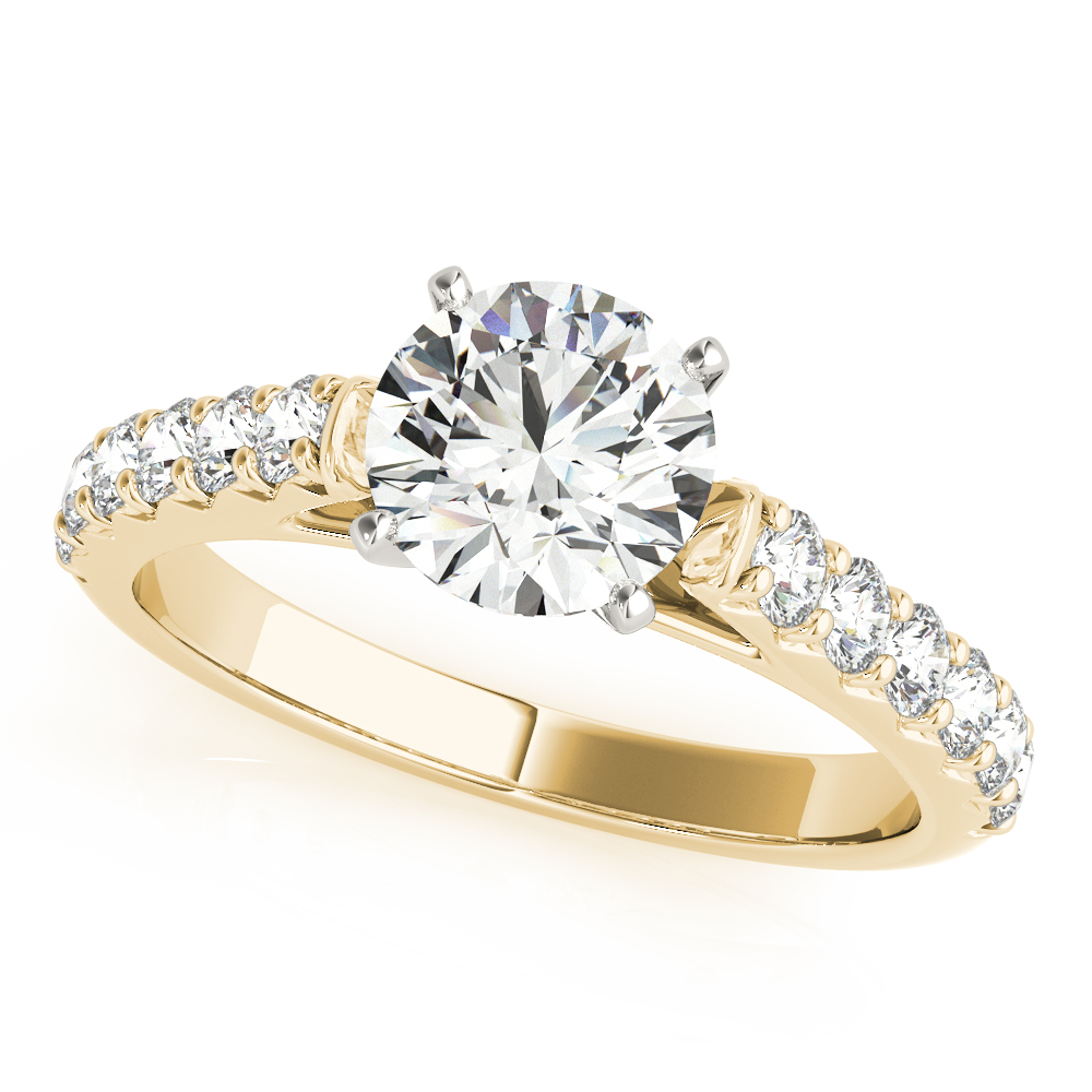 French Cut Diamond Engagement Ring Yellow Gold