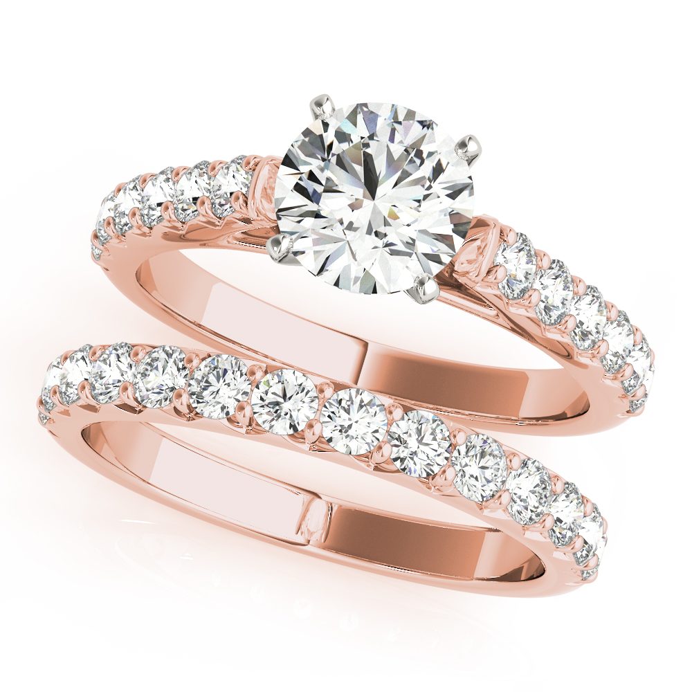 French Cut Diamond Bridal Set Rose Gold