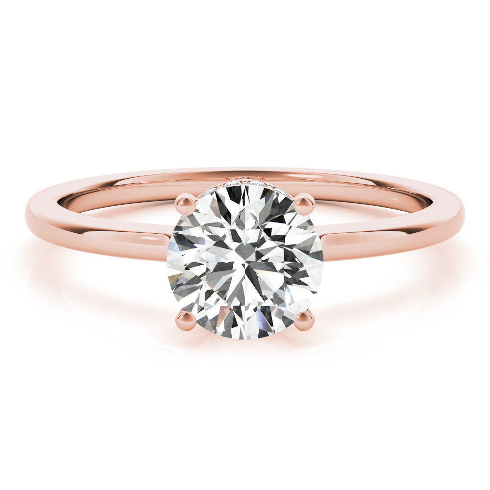 Hidden Halo Solitaire Bridal Set Rose Gold