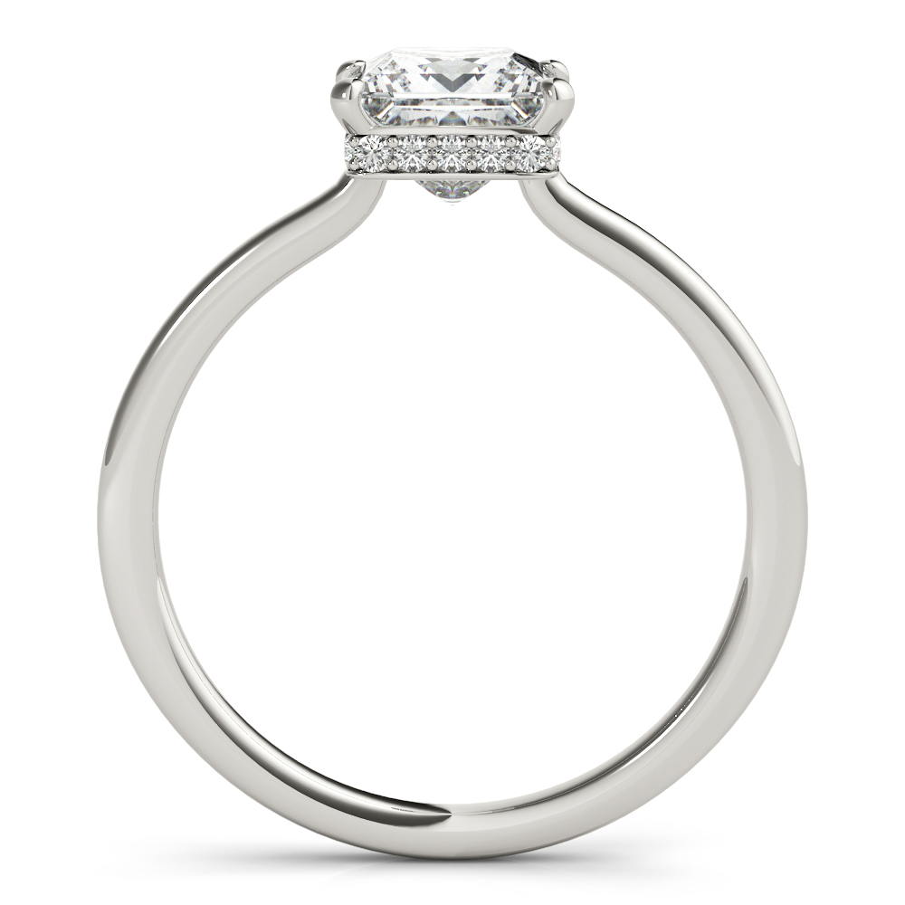 Princess Hidden Halo Solitaire Engagement Ring