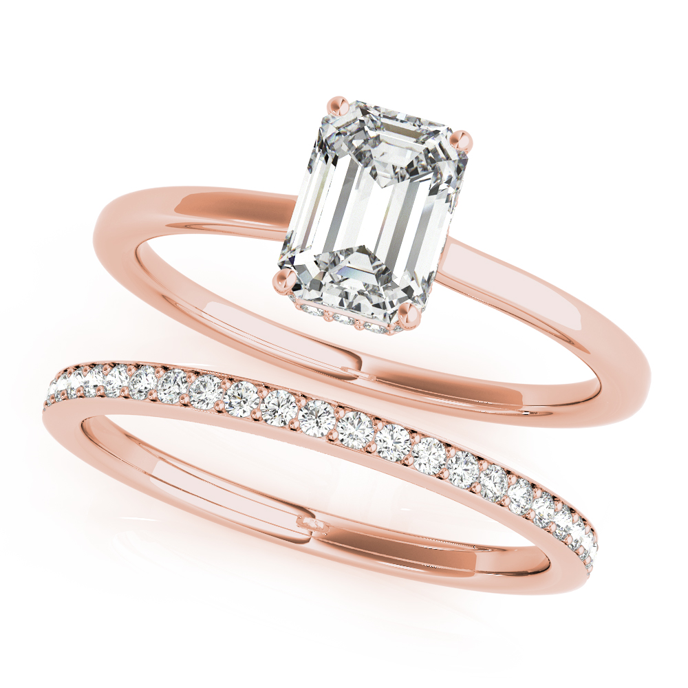 Emerald Hidden Halo Solitaire Bridal Set Rose Gold