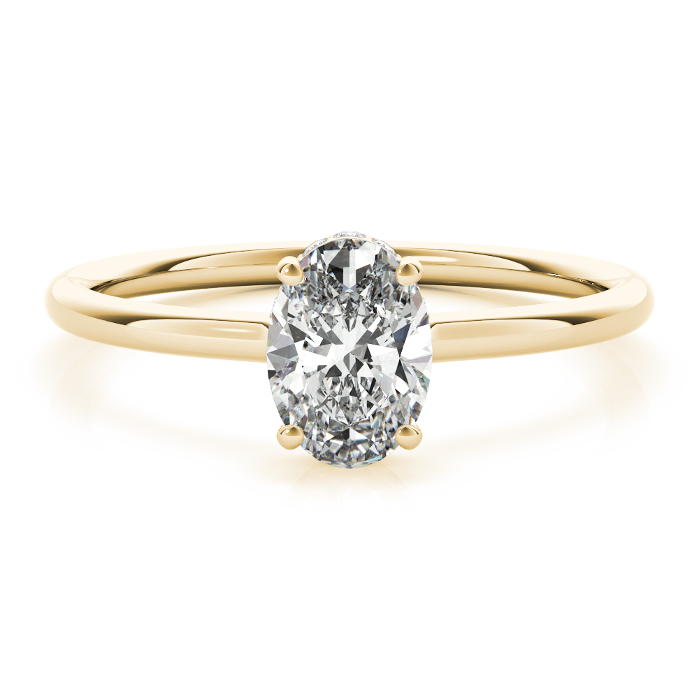 Oval Side Halo Solitaire Engagement Ring Yellow Gold