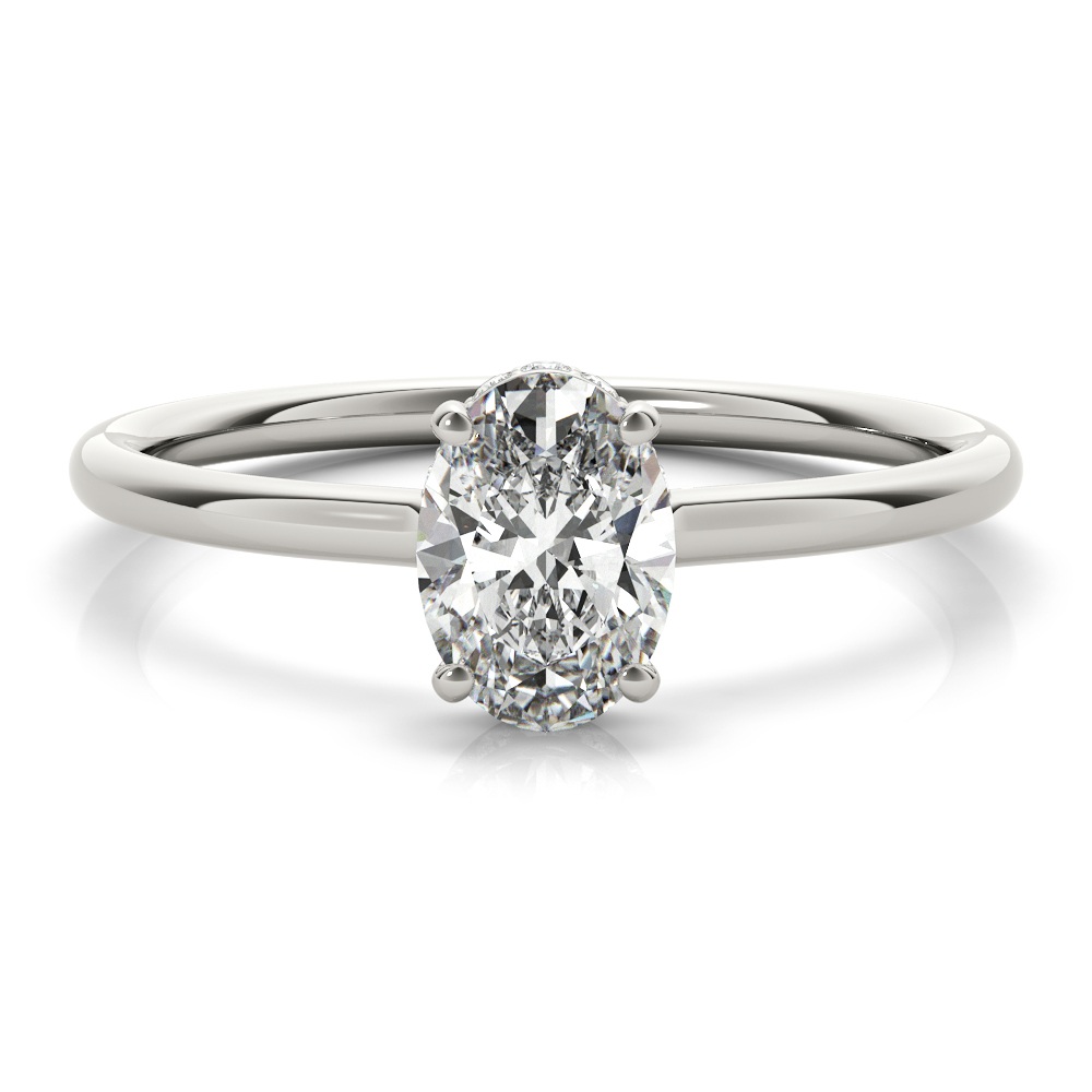 Oval Hidden Halo Solitaire Engagement Ring