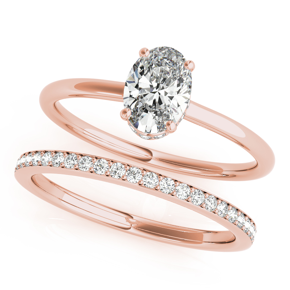 Oval Hidden Halo Solitaire Bridal Set Rose Gold