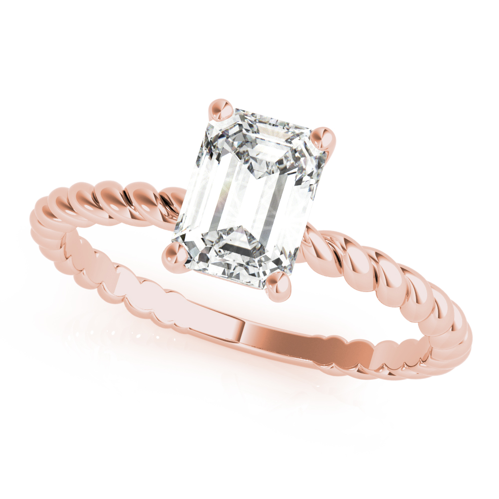 Petite Rope Solitaire Emerald Engagement Ring Rose Gold