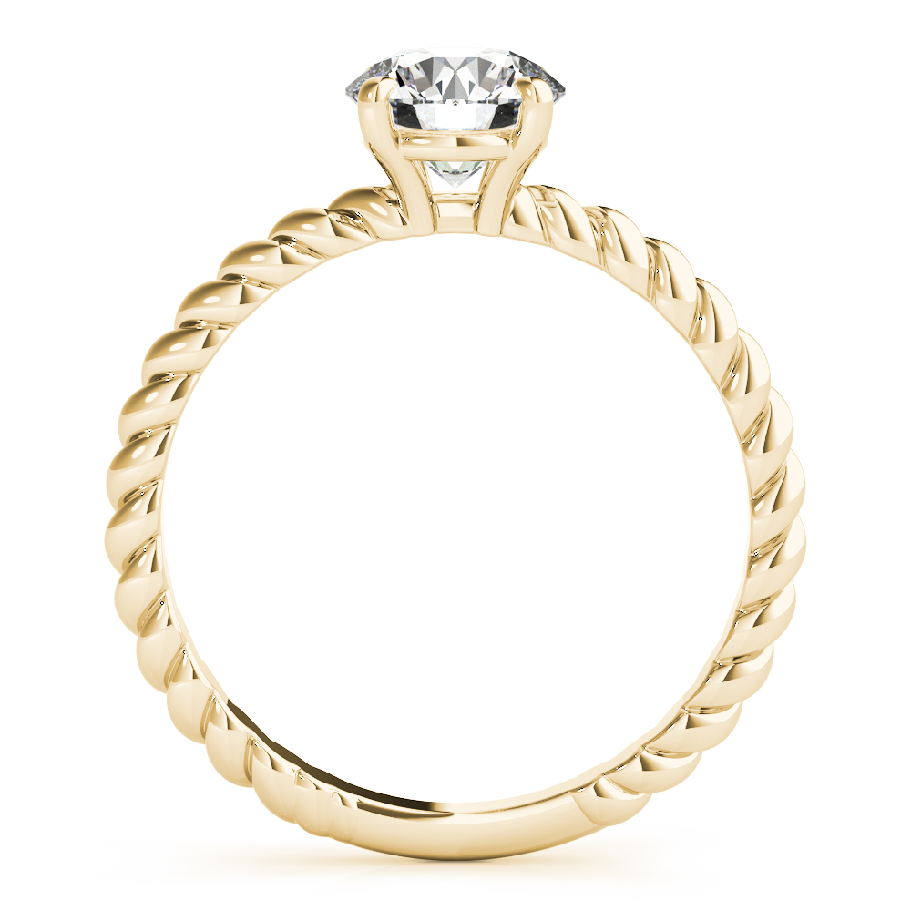 Petite Rope Solitaire Engagement Ring Yellow Gold