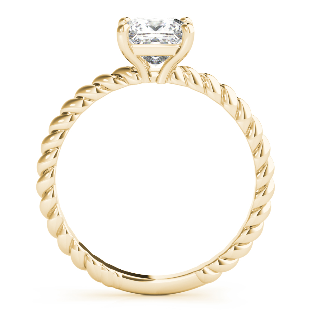 Petite Rope Solitaire Princess Engagement Ring Yellow Gold