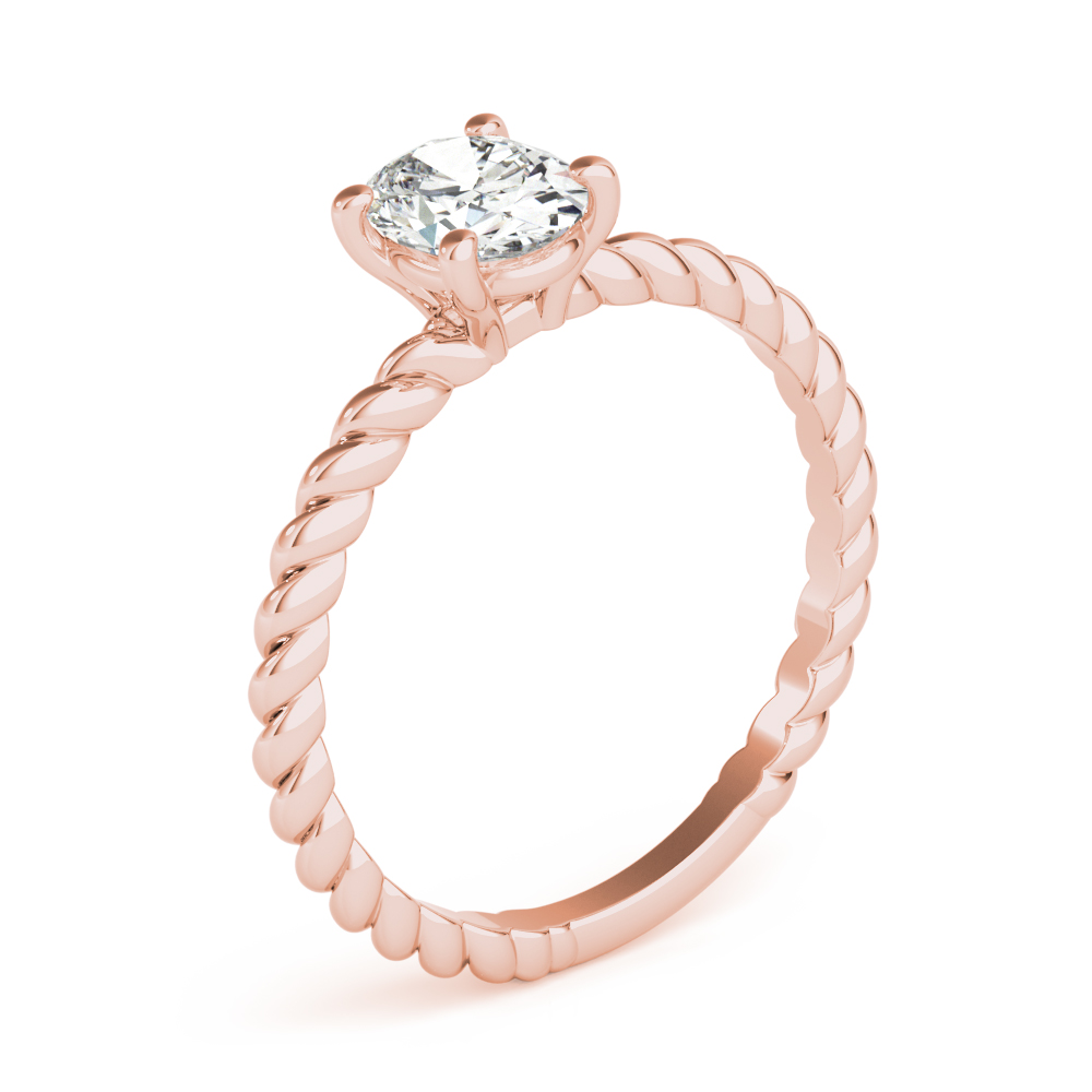 Petite Rope Solitaire Oval Engagement Ring Rose Gold