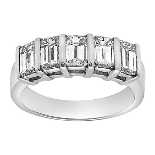 Five Stone Emerald Cut Diamond Wedding Band 1.59 tcw. In 14K White Gold