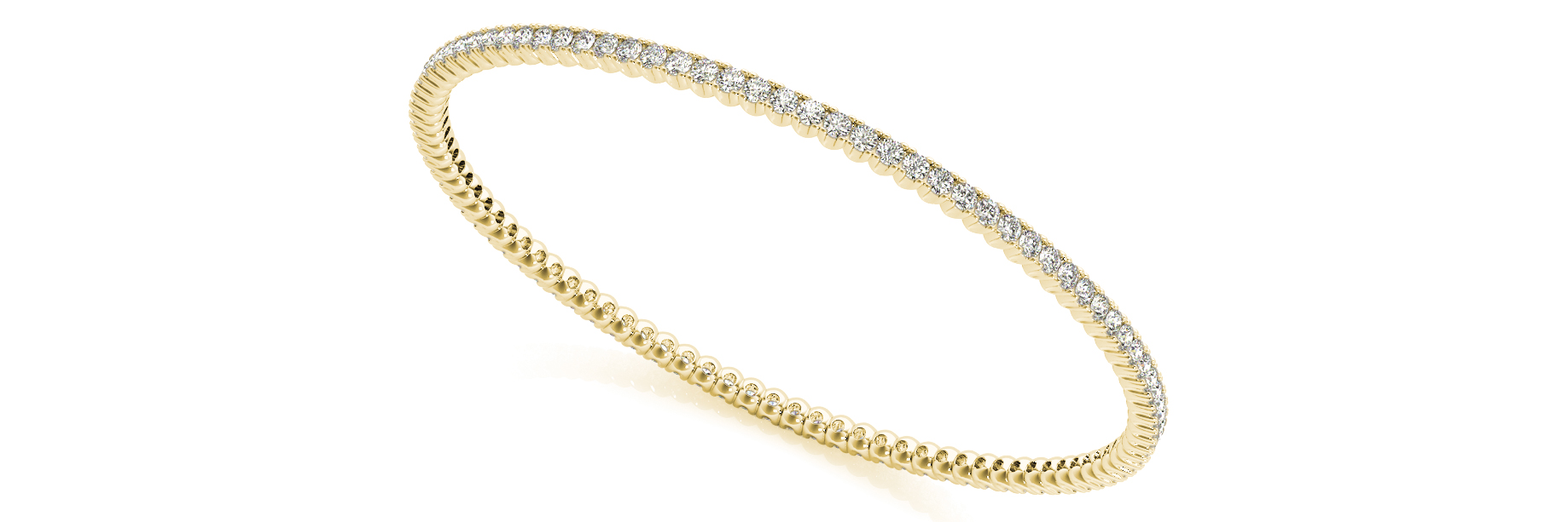 2.79 Carat Round Diamond Eternity Bangle in Yellow Gold