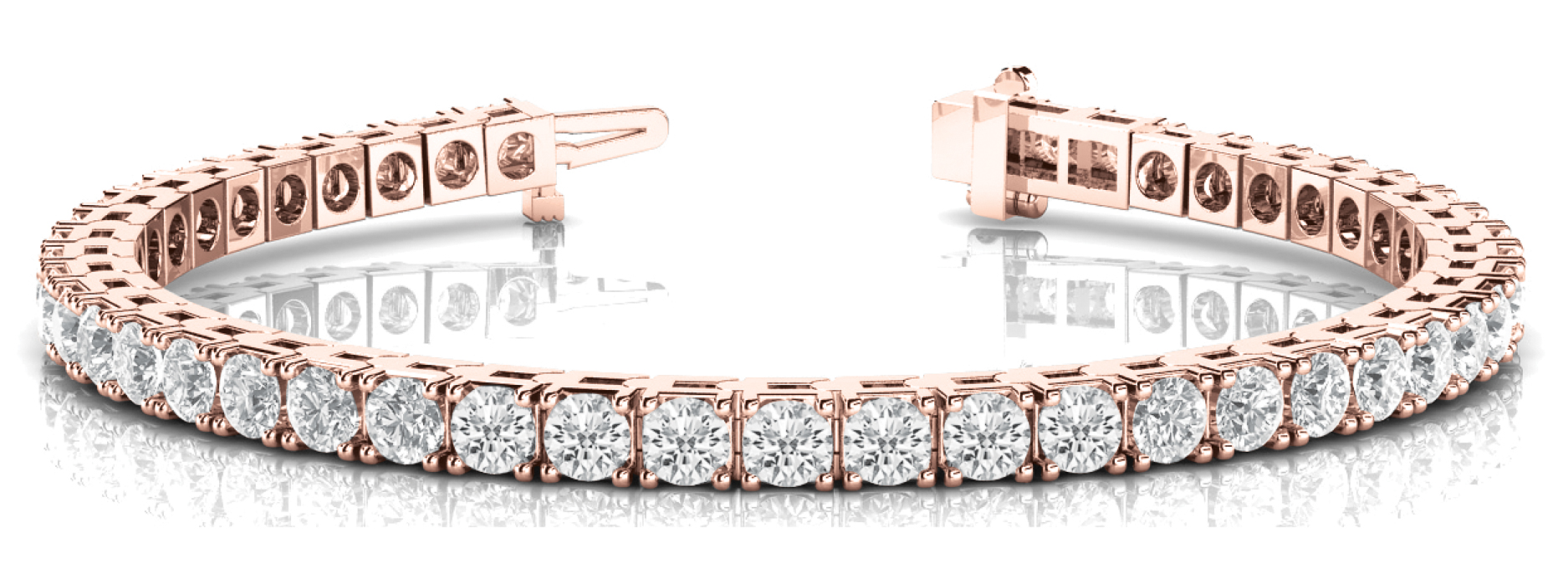 5 Carat Round Diamond Tennis Bracelet Rose Gold