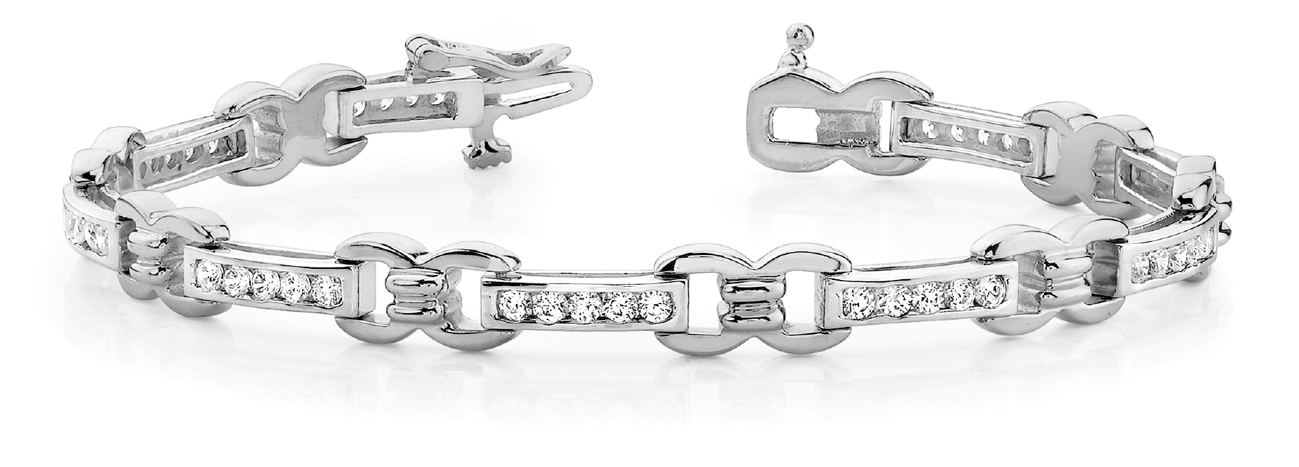 Watch Link Bracelet Channel Diamonds 1.5 CT.